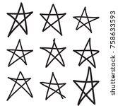 set hand drawn star. vector... | Shutterstock .eps vector #758633593