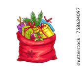 christmas bag with gifts ... | Shutterstock .eps vector #758634097
