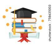 mortarboard cap on piles of... | Shutterstock .eps vector #758635003