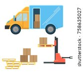 delivery truck with postal... | Shutterstock .eps vector #758635027