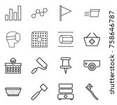 thin line icon set   graph ... | Shutterstock .eps vector #758646787