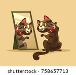 surprised curious cat character ... | Shutterstock .eps vector #758657713