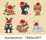 these cute animals put on santa ...   Shutterstock .eps vector #758661097