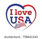 i love usa with outline of...   Shutterstock .eps vector #758661163