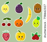 icons of fruit smiley stickers... | Shutterstock .eps vector #758662327
