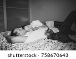 black and white. young couple... | Shutterstock . vector #758670643