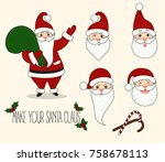 make your santa. cartoon santa... | Shutterstock .eps vector #758678113