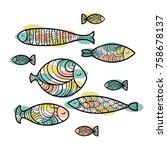 set of cute sea and ocean fish... | Shutterstock .eps vector #758678137