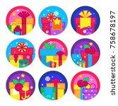 vector illustration of gift... | Shutterstock .eps vector #758678197