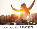 couple in love having fun... | Shutterstock . vector #758683177