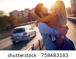 couple in love cuddling while... | Shutterstock . vector #758683183