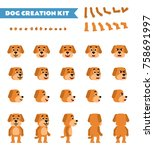 funny yellow dog creation set.... | Shutterstock .eps vector #758691997