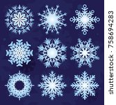 set of vector christmas... | Shutterstock .eps vector #758694283