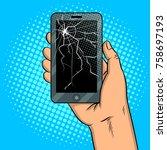smart phone with broken screen...   Shutterstock . vector #758697193