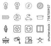 thin line icon set   bulb ...   Shutterstock .eps vector #758700937