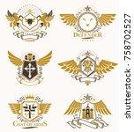 vintage heraldry design... | Shutterstock .eps vector #758702527