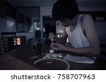 thin man with drugs and... | Shutterstock . vector #758707963