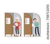 people in voting booths... | Shutterstock .eps vector #758711053