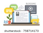 blogging concept illustration.... | Shutterstock .eps vector #758714173