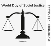 world social justice day flat... | Shutterstock .eps vector #758721133