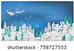merry christmas .graphic red... | Shutterstock .eps vector #758727553