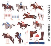 equestrian sport set of flat... | Shutterstock .eps vector #758732113
