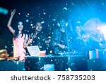 night club dj party people... | Shutterstock . vector #758735203