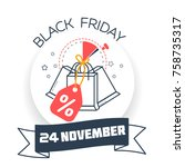 banner on a black friday the... | Shutterstock .eps vector #758735317