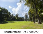 golf course with blue sky... | Shutterstock . vector #758736097