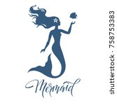 mermaid  silhouette  hand drawn ...