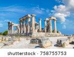 aphaia temple on aegina island... | Shutterstock . vector #758755753