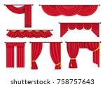 scarlet pompous curtains... | Shutterstock . vector #758757643
