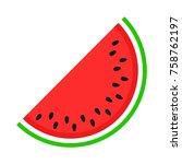watermelon icon in trendy flat... | Shutterstock .eps vector #758762197