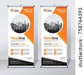 roll up banner design template  ... | Shutterstock .eps vector #758764393