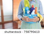 woman with cleaning equipment... | Shutterstock . vector #758790613