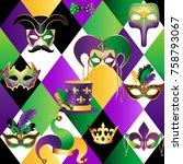 seamless pattern with golden... | Shutterstock .eps vector #758793067