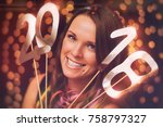happy new year   young woman in ...   Shutterstock . vector #758797327