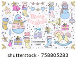 set of vector colorful... | Shutterstock .eps vector #758805283