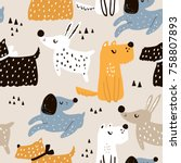 Stock vector childish seamless pattern with hand drawn dogs trendy scandinavian vector background perfect for 758807893