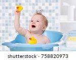 baby child taking bath  looking ... | Shutterstock . vector #758820973
