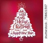 christmas tree silhouette....   Shutterstock .eps vector #758821507