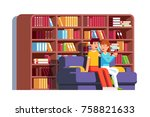 husband   wife sitting on sofa... | Shutterstock .eps vector #758821633