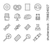 sweets  thin monochrome icon...   Shutterstock .eps vector #758824027