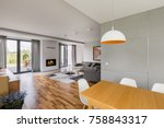 new design home interior with... | Shutterstock . vector #758843317