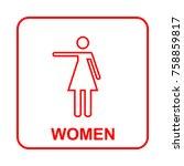 toilet sign. wc  women    Shutterstock .eps vector #758859817