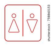 toilet sign. wc  men and women    Shutterstock .eps vector #758860153