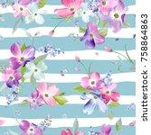spring flowers seamless pattern.... | Shutterstock .eps vector #758864863