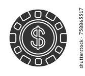 casino chip glyph icon....   Shutterstock .eps vector #758865517