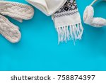 cozy knitted things  a scarf ... | Shutterstock . vector #758874397