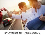 young couple in love dating and ... | Shutterstock . vector #758880577